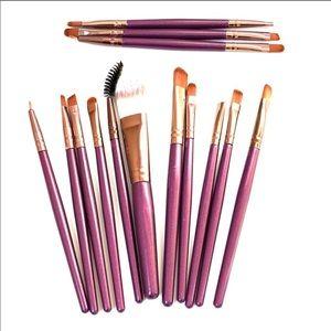 NEW 14 pc Purple Handle Cosmetic Brush Set